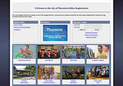 Register for recreation activities in Thornton