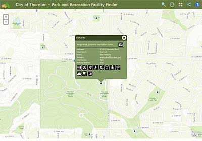 screenshot of Parks and Recreation Finder website