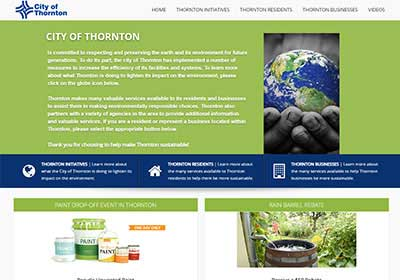 screenshot of ThorntonSustainability.com website