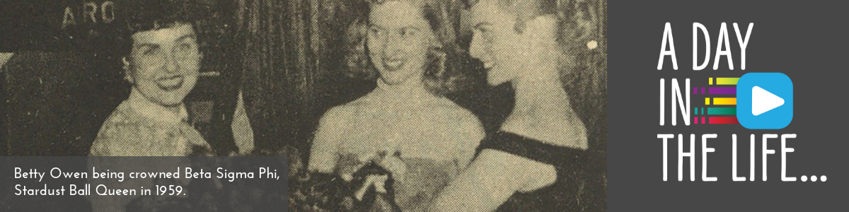 Betty Owen being crowned Beta Sigma Phi in 1959