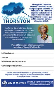 Thoughtful Thornton Flyer in Spanish